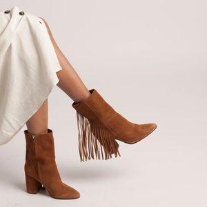 Dolce Vita Rhoda Leather Fringe Mid Boot